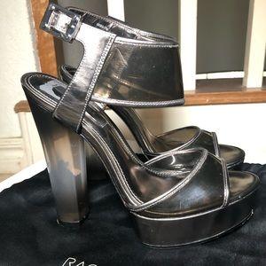 Rachel Zoe silver metallic platform heels
